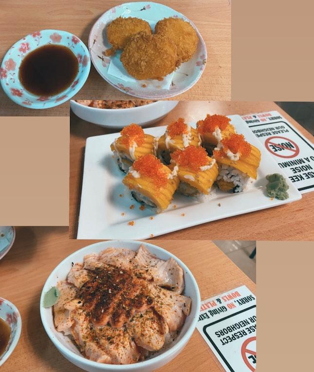 Cream Croquette ($4.50), Ebi Mango Maki ($12), Salmon Mentaiko Don (L) ($14)