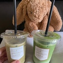Iced matcha and hojicha