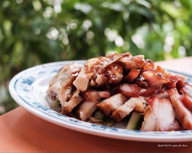 Platter of chicken, char siew and roast pork [$6].