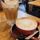 Hot Cafe Latte ($5.50) & Cold Caramel Macchiato ($6.00)