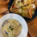 Truffle Mushroom Spaghetti And Seafood Pesto Pizza