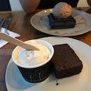 Ice Cream + Charcoal Waffles/ Brownie (~$9)