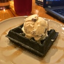 Charcoal Waffles with Rum and Raisin Ice cream