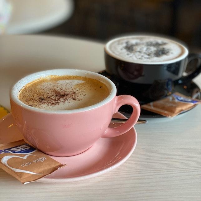 Black Sesame Latte and Regular Latte