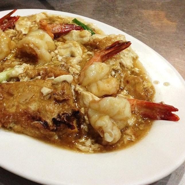 豆腐虾 (Tofu Prawn) - one of my favorite cze char dishes @ 食為先