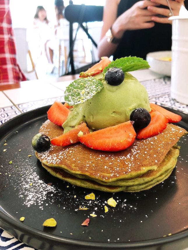 Matcha Pancakes ($15)