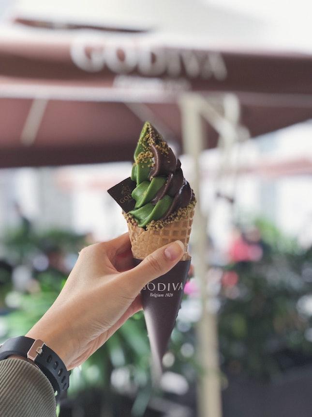 Matcha Chocolate Swirl Soft Serve