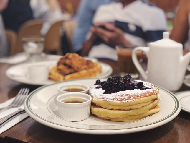 Blueberry Pancake Stack + Buttermilk Chicken Waffle