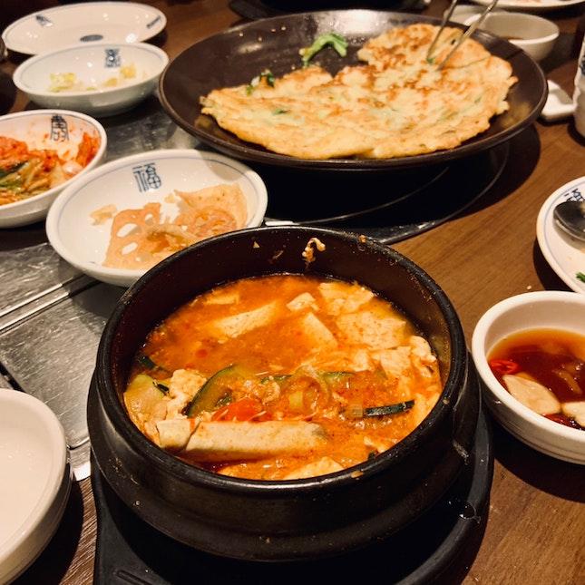 Sundubu Jigae ($15) & Seafood Pancake ($16)
