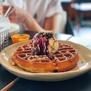 Peanut Butter and Berries Waffle