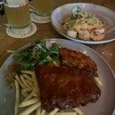BBQ Ribs And Seafood Aglio Olio