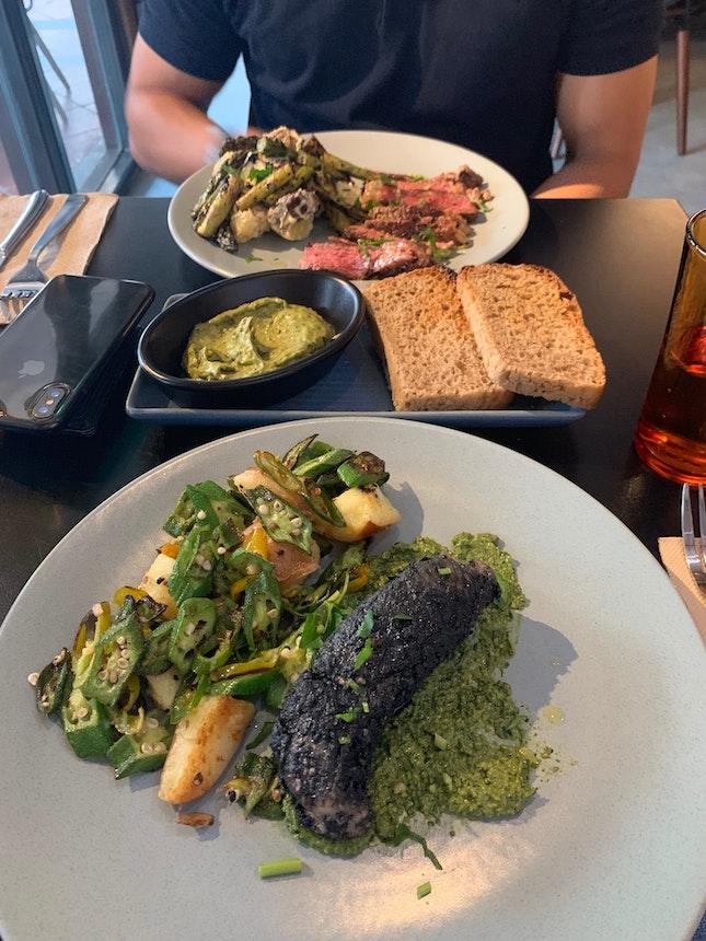 Charcoal Fish And Steak