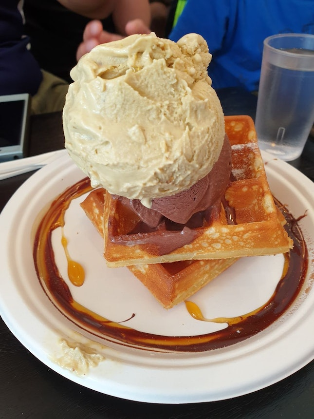 Very Creamy And Sticky Ice Cream. The Waffle Is Good. Love It. Good Burple Beyond 1-for-1 Deal Set Deal!