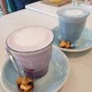 Sweet Potato Latte & Blue Flower Latte
