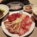 Lunch menu Set 5 (210 gr of meat) : karubi, brisket and pork belly.