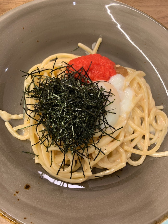 Mentaiko Chitarra With Soft Boiled Egg, Cream, Plum And Seaweed