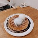 waffle w blue pea vanilla & apiary ice cream