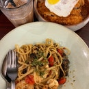 Prawn Aglio Olio ($17) And Pork Cutlet Jjolmyeon
