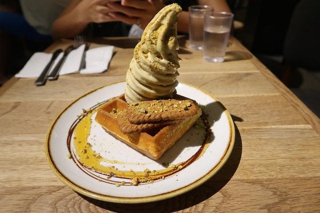 Roasted Pistachio Ice Cream Waffles