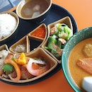 Vegetarian Set Meal And Chicken Curry