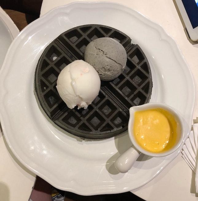Charcoal Waffles + Lychee Sorbet + Black Sesame