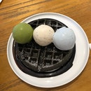 Charcoal Waffles + 3 Scoops Ice Cream ($6 + $10)