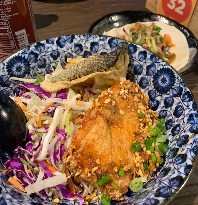 Salmon Rice Vermicelli And Soft Shell Crab Taco