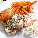 The Mushroom Lamb Burger with Cajun Fries & Coleslaw , love the soft & tender lamb strips, the Strong creamy Mushroom sauce with slight cheese and the thick cut fries !