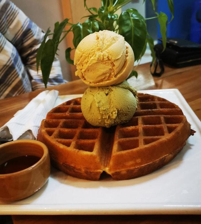 Waffles with Little Nyonya & Pistachio Ice Cream