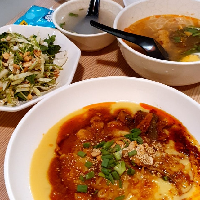 Tofu Noodles, Mohinga, Pennywort Salad
