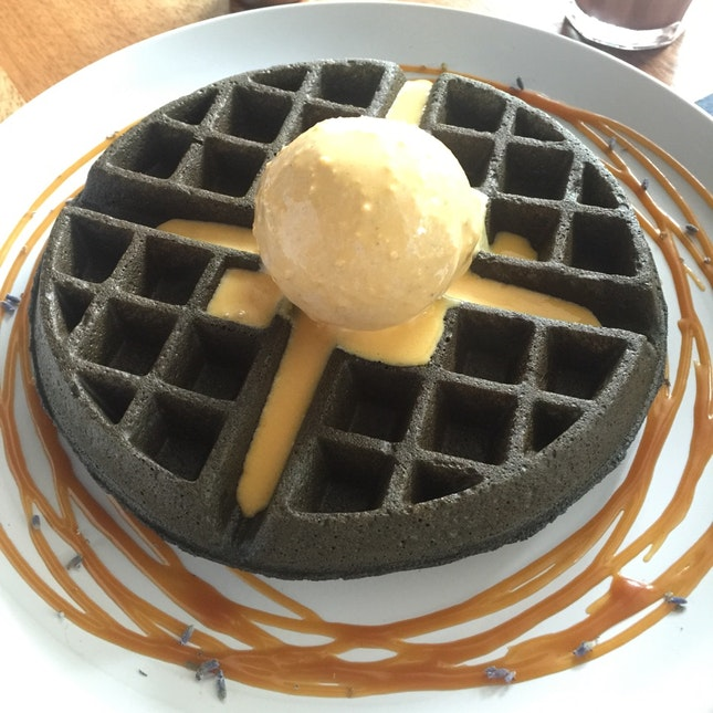 Charcoal Waffles with Salted Egg Sauce