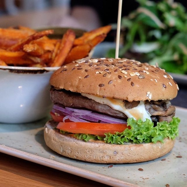 German burgers with sweet potato fries?!
