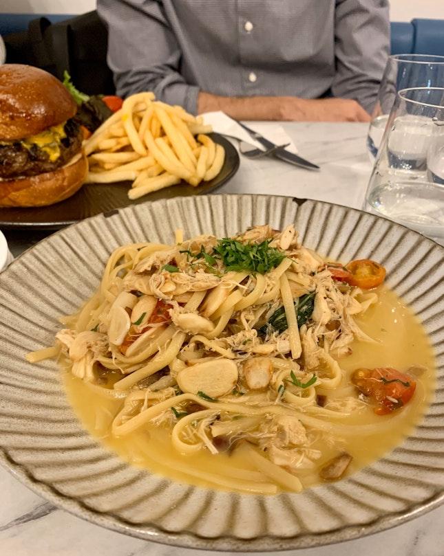Crabmeat Pasta in White Sauce