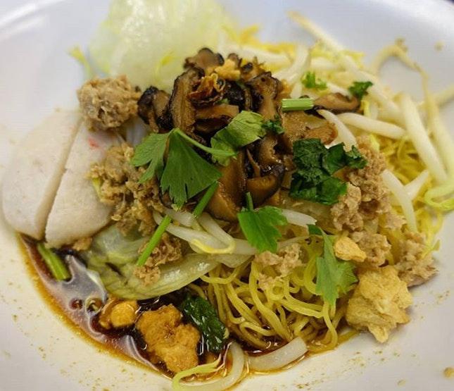 Vegetarian fish ball mushroom noodles.