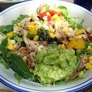 Salad - avocado, chicken, salsa, spinach, nuts, corn, capsicum!