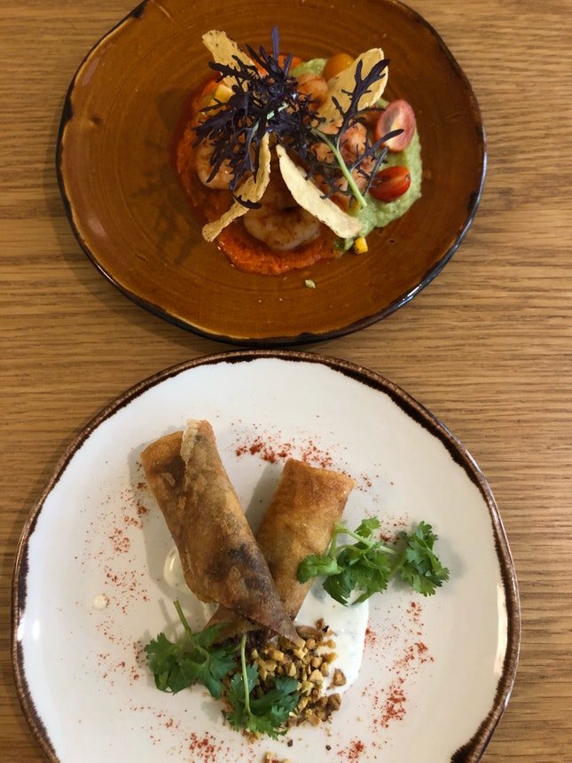 Prawn & Avocado, Confit Lamb Pastilla