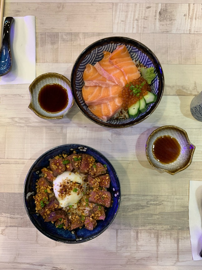 Wagyu Beef Don and Salmon Don