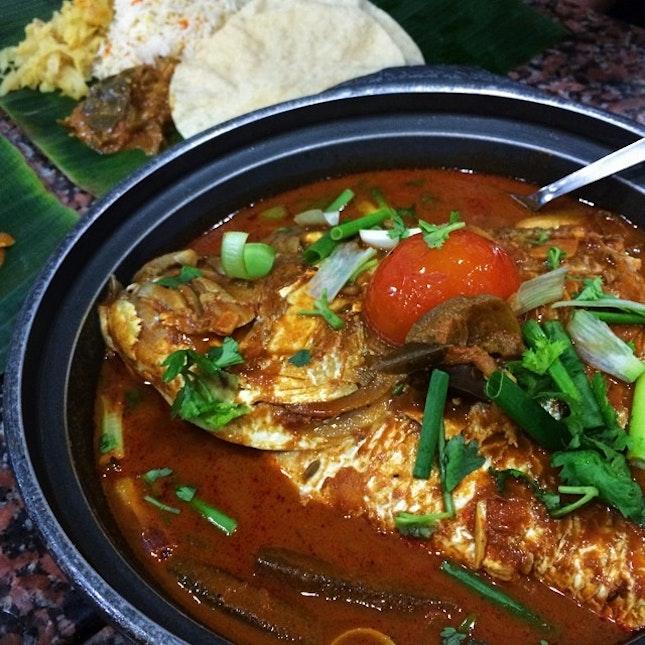 curry fish head ($28) @ karu's