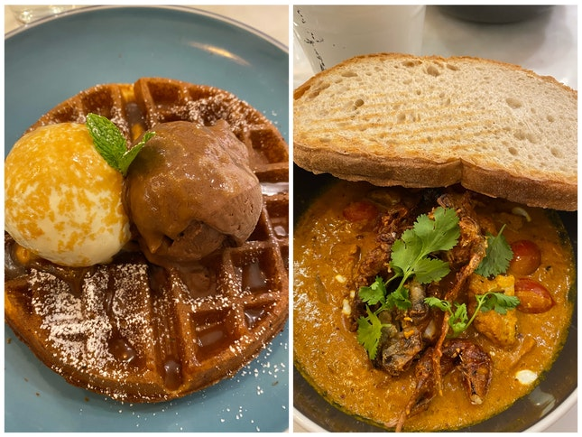 Soft Shell Crab Curry, Waffles With Ice Cream