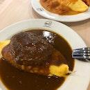 Beef burger omu rice