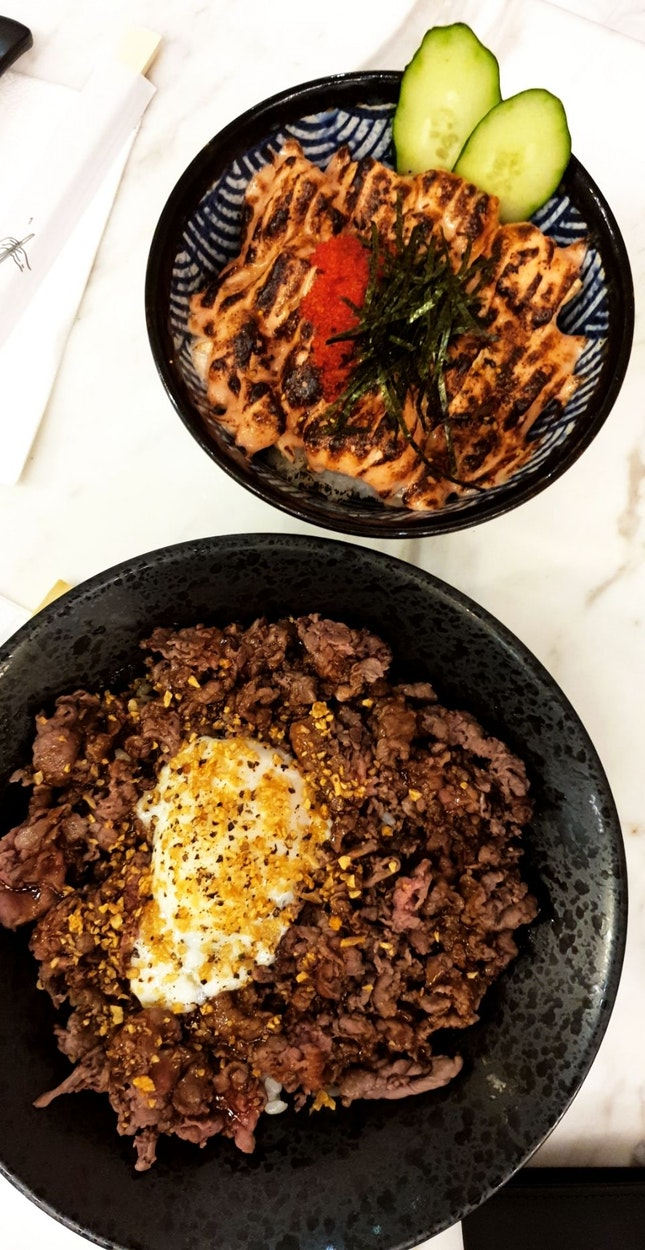 Truffle Wagyu Beef Don & Mentaiko Salmon Don