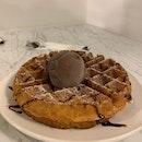 Buttermilk Waffles W/ Chocolate Bailey's Ice Cream.