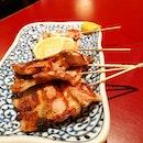Izakaya Nijumaru's pork belly skewers || Cuppage Plaza, Singapore.