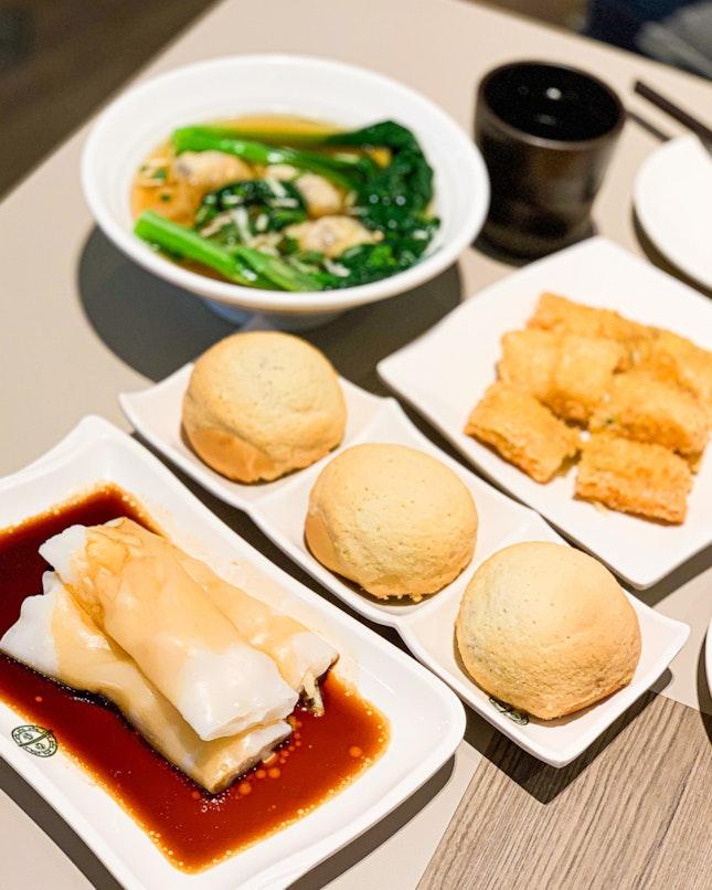BBQ Pork Buns, Cheong Fun, Fried Beancurd Skin Roll, Wonton Soup