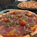 Parma Ham and delish meat pizza