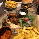 Quarter Chicken & Steak Burger