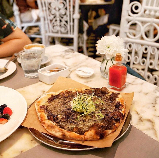 Black Truffle and Fontina Cheese Pizza $36