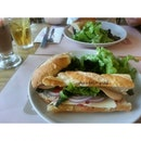 Turkey sandwich at Cafe tartine - smoked.turkey with enmental cheese.