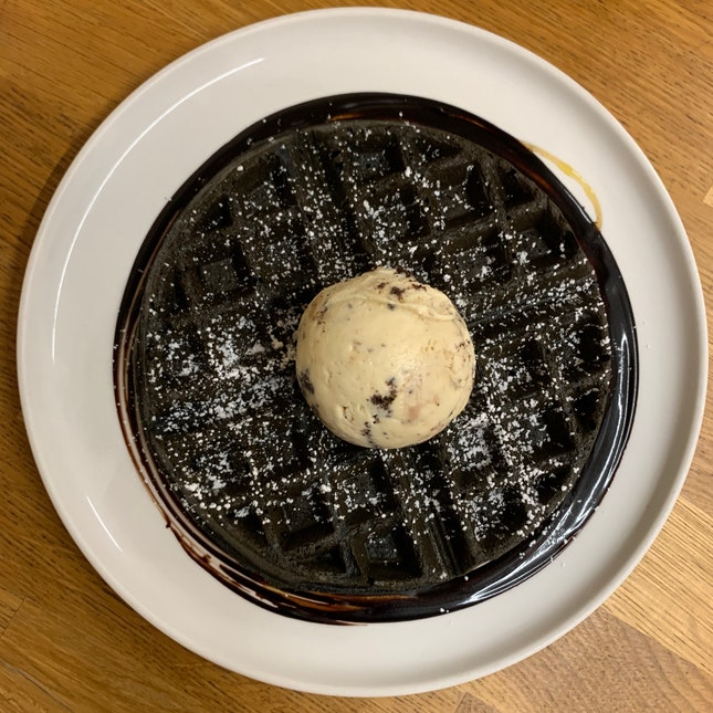 Charcoal Waffles & Ice Cream