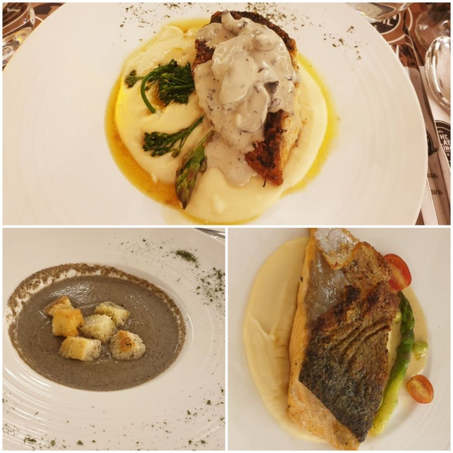 Barramundi Truffle, Salmon, Wild Mushroom Soup